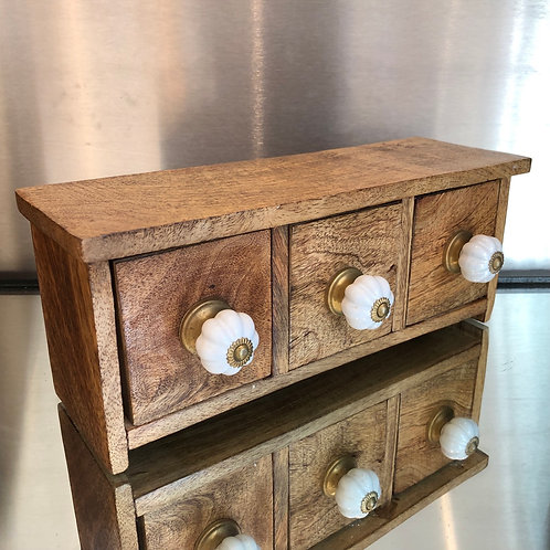 VINTAGE SMALL SET OF THREE WOODEN DRAWERS