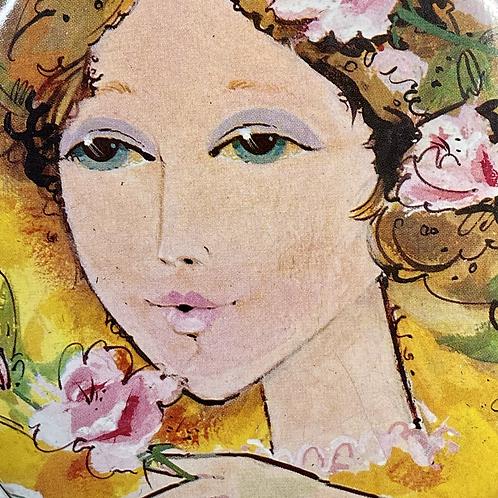 VINTAGE SHARP TIN. Flower girl