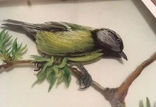 MID-CENTURY ORIGINAL 3D GLASS PAINTING OF A TIT