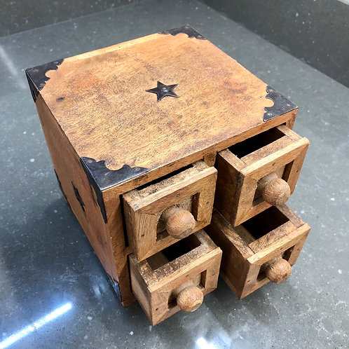 MINIATURE RUSTIC HARDWOOD CHEST OF DRAWERS