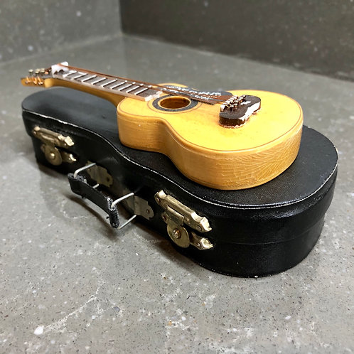 MINIATURE WOODEN ACOUSTIC GUITAR AND CASE