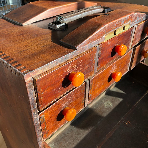 ANTIQUE WOODEN TOOL CHEST WIYH KEY