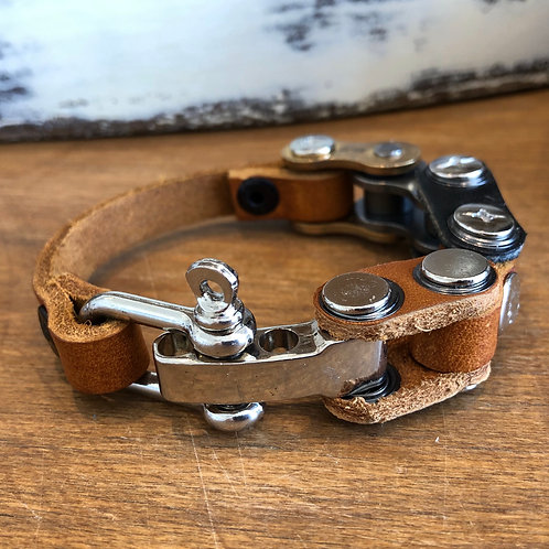 HANDMADE RECYCLED MOTORBIKE CHAIN AND LEATHER BRACELET small