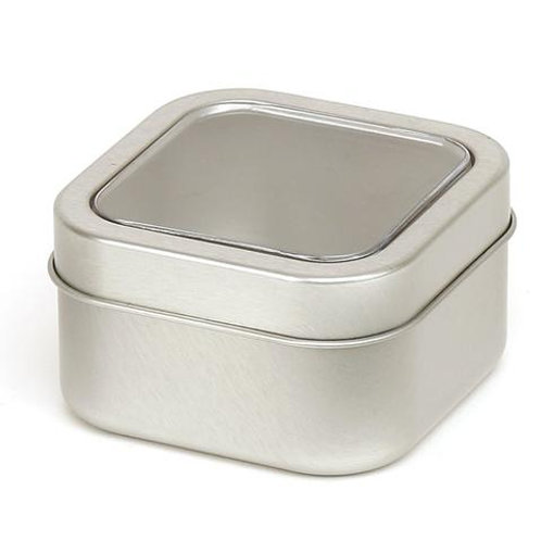 SQUARE GIFT TIN WITH CLEAR WINDOW