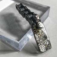 STEAMPUNK RESIN RECTANGLE PENDANT ON RECYCLED MOTORBIKE CHAIN BALE