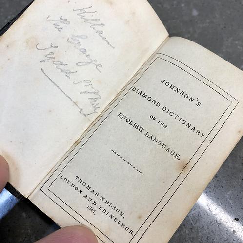 1847 MINIATURE LEATHER JOHNSON'S DIAMOND DICTIONARY OF THE ENGLISH LANGUAGE