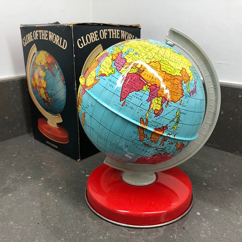 VINTAGE 70/80s BOXED TINPLATE GLOBE OF THE WORLD. Chad Valley