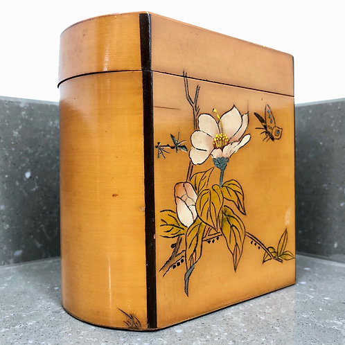 VINTAGE CHINESE LACQUERED TEA CADDY