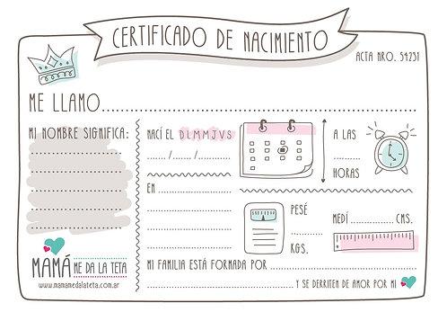 """descargables """"certificado de nacimiento"""""""