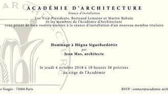 A l'Académie d'Architecture ce soir...