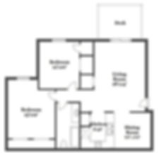 Floorplan for two bedroom w/ deck