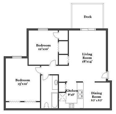 Floorplan for two bedroom w/ deck
