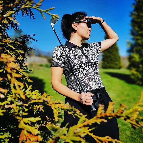 POLOKOŠILE černo-zlatá na golf QUEEN