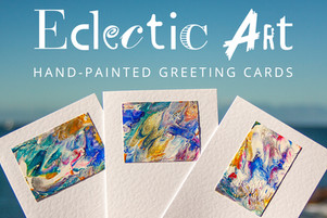 Photo of an Eclectic Art hand painted card and link to their page