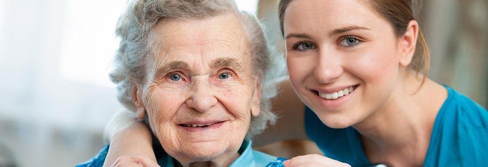 happy nurse and client
