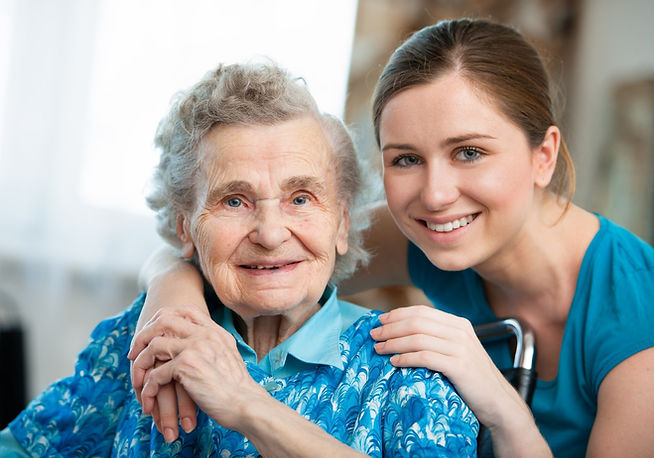 Home care nurse with elderly client
