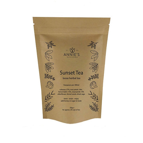 sunset tea herbal tea compostable pouch