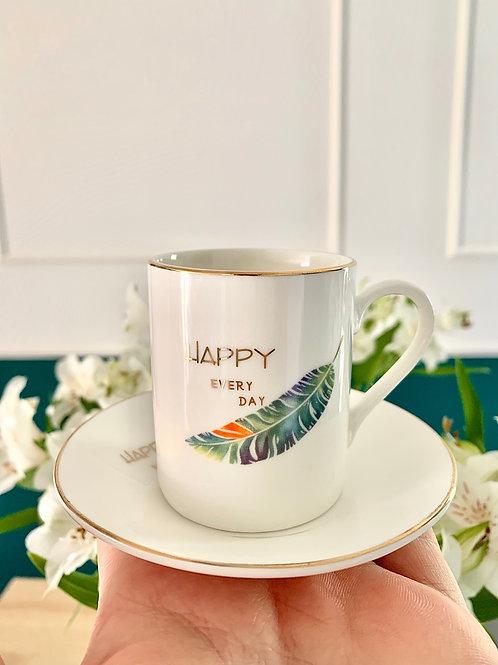 JOSH - Conjunto Xícaras de Porcelana Happy (6pcs)