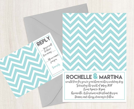 Wedding Invitations - Digital Files - DIY - Chevron
