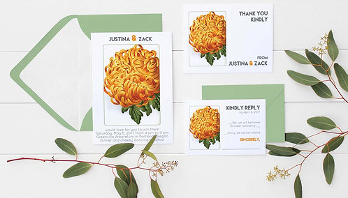 Wedding Invitations - 3 Digital Files - DIY - Floral