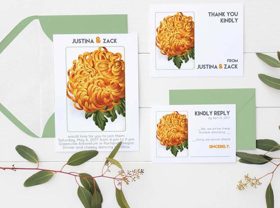 orange mum wedding set