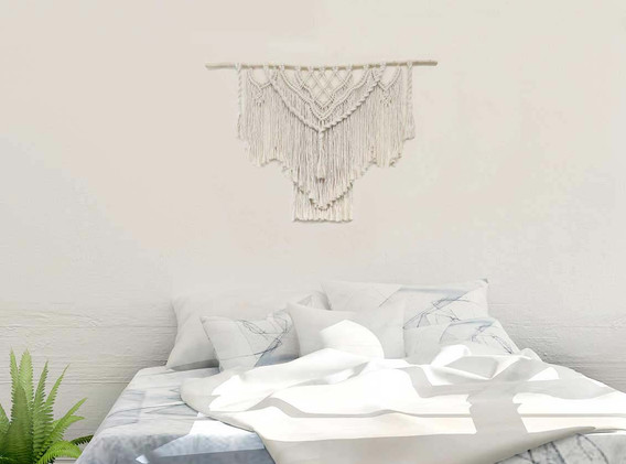 cream bohemian macrame wall hanging
