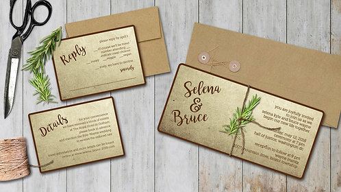 Wedding Invitations - Set of 20 - Rustic & Natural