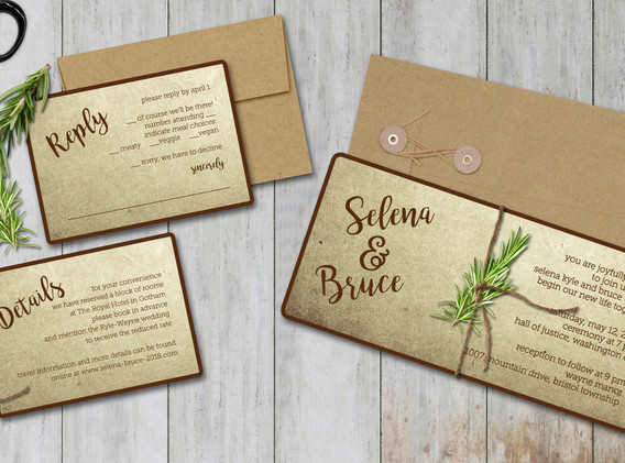 natural with herbs wedding set
