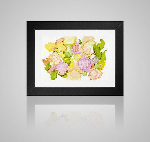 Art Print - Alcohol Ink - Peachy Floral