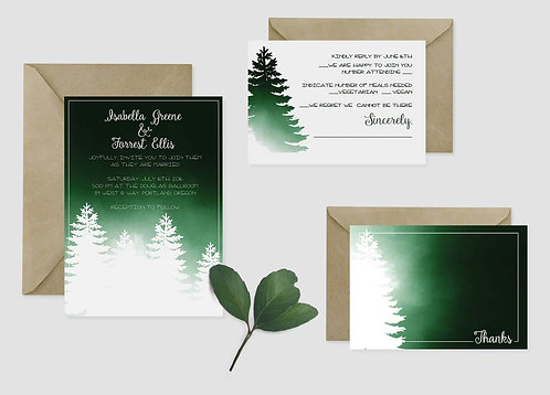 Wedding Invitations - Set of 25 - Forest