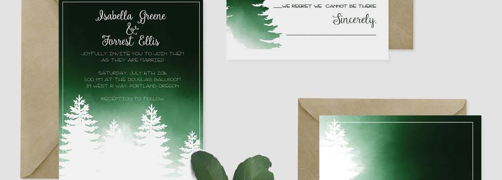 pine forest wedding set