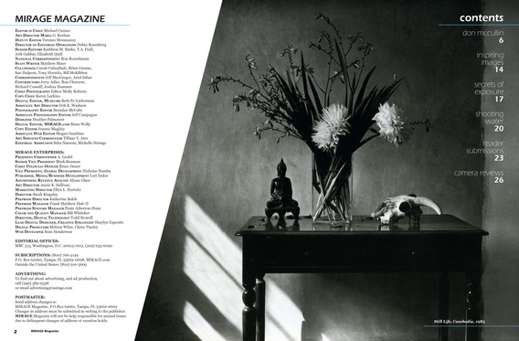 MIRAGE masthead & table of contents