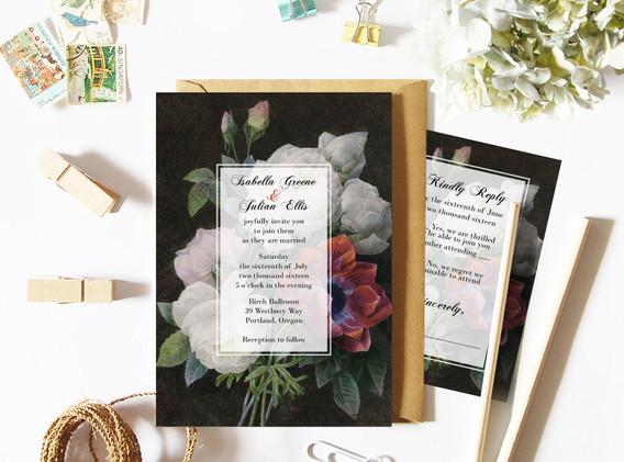 black botanical wedding set