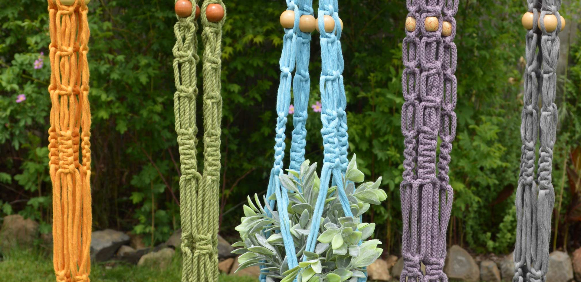 colored plant hangers
