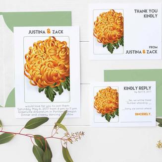 Wedding Invitation - Orange Mum
