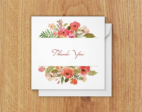 Set of 10 Floral Notecards - Thank You