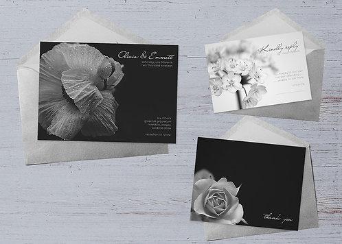 Wedding Invitation Ensemble - Black & White Floral - Set of 20