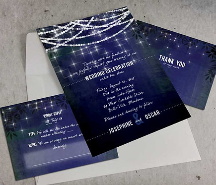 Wedding Invitation - Digital Files -DIY - Twinkle Lights