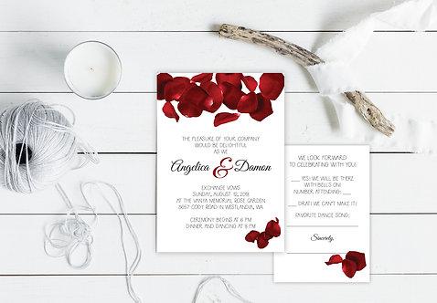 Wedding Invitations - Digital Files - DIY - Red Roses