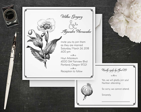 Wedding Invitations - Digital Files - DIY - Poppy - Invitation & Reply