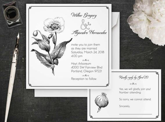 vintage poppy wedding set