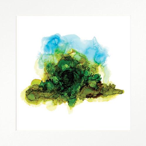 Framed Art Print - Alcohol Ink - Abstract Landscape