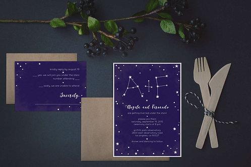Wedding Invitations - Digital Files - DIY - Constellations