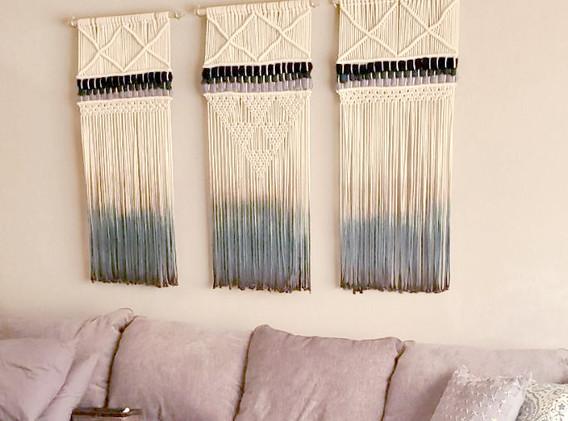 triptych macrame wall hangings