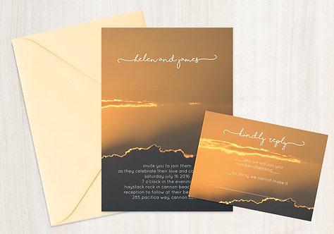 Wedding Invitation - Digital Files - DIY - Sunset