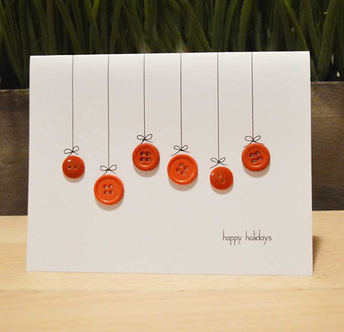 Set of 6 Holiday Cards - Buttons - Ornaments