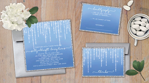 Wedding Invitation Ensemble - Set of 20 - Blue Sparkling Lights