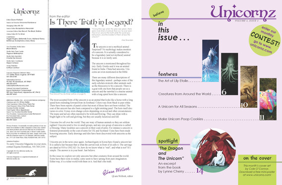 Unicornz masthead & table of contents