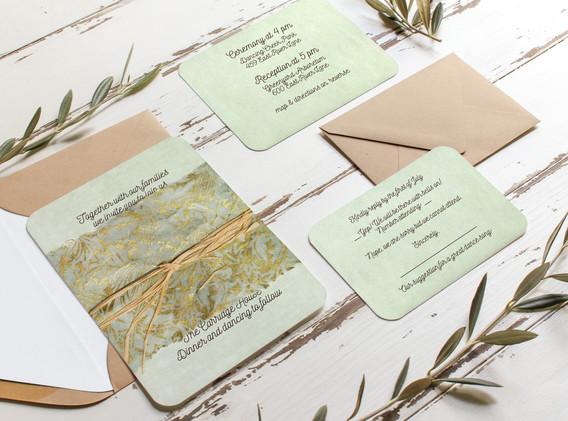 seafoam parchment wedding set