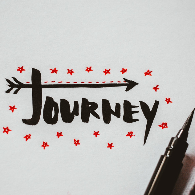two brush pens on paper wrote journey -